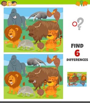Jogo de diferenças com o grupo de personagens de animais selvagens
