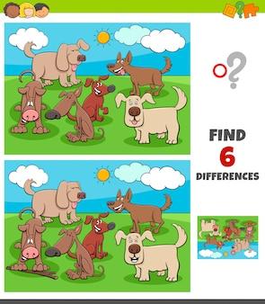 Jogo de diferenças com personagens animais de cães felizes