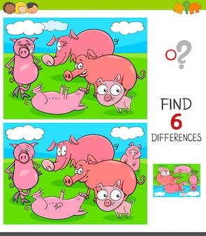 Jogo de diferenças com personagens animais de porcos