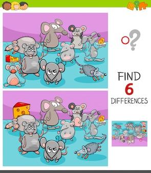 Jogo de diferenças com personagens animais de ratos