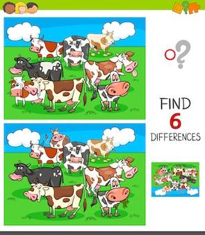 Jogo de diferenças com personagens animais de vacas