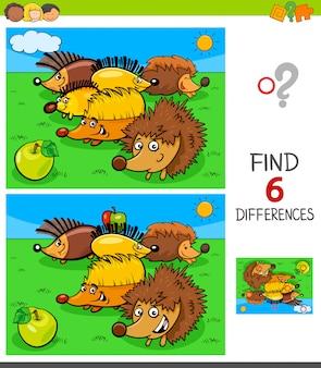 Jogo de diferenças com personagens animais ouriço