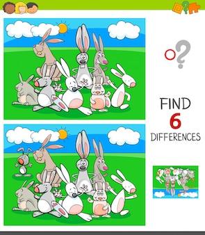 Jogo de diferenças com personagens de animais de coelhos