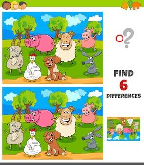 Jogo de diferenças com personagens de animais de fazenda felizes