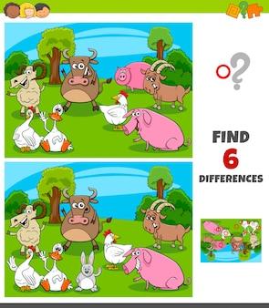 Jogo de diferenças com personagens de animais de fazenda
