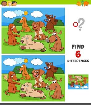Jogo de diferenças com personagens de cães e filhotes