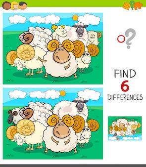 Jogo de diferenças com personagens de carneiros e carneiros