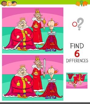 Jogo de diferenças com personagens de fantasia de reis