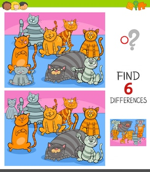 Jogo de diferenças com personagens de gatos