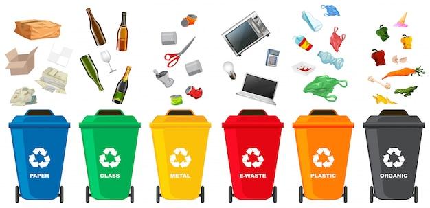 Jogo, de, diferente, caixa lixo