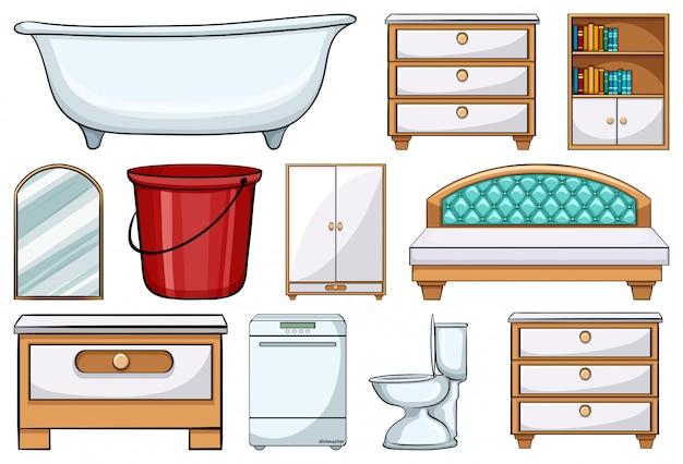 Jogo, de, diferente, mobília, elementos