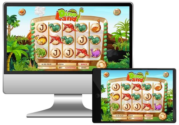 Jogo de dinossauros na tela do computador