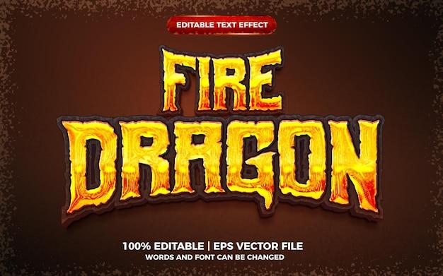 Jogo de dragão de fogo em negrito com efeito de texto editável estilo modelo 3d