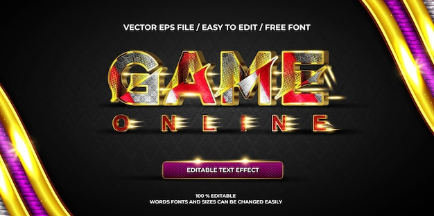 Jogo de efeito de texto editável de luxo ouro estilo de texto 3d