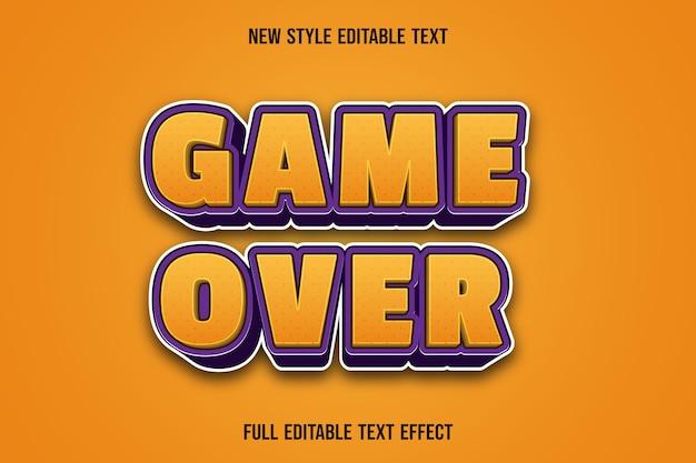 Jogo de efeito de texto editável sobre as cores amarelo e roxo