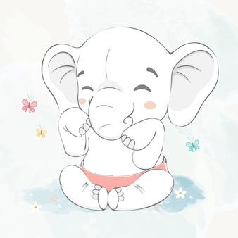 Jogo de elefante bebê fofo com borboleta água cor cartoon mão ilustrações desenhadas
