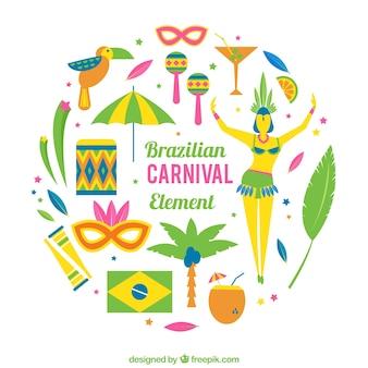 Jogo de elementos brasileiros em design plano