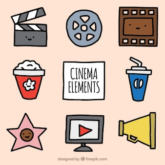 Jogo de elementos de filmes desenhados à mão