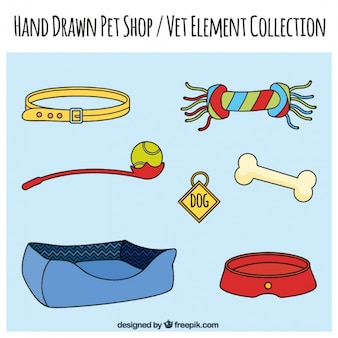 Jogo de elementos desenhados mão de lojas de animais