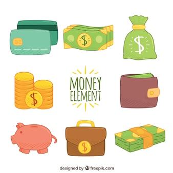 Jogo de elementos desenhados mão do dinheiro