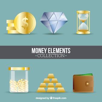Jogo de elementos do dinheiro em design plano