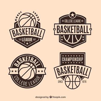 Jogo de emblemas de basquete decorativos do vintage