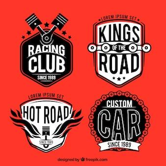 Jogo de emblemas de corridas do vintage