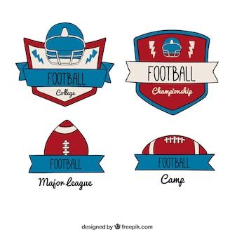 Jogo de emblemas de futebol americano retro
