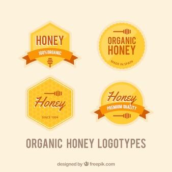 Jogo de emblemas de mel no estilo retro