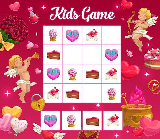 Jogo de enigma infantil com personagens de desenhos animados do feriado dos namorados