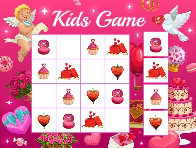 Jogo de enigma infantil para o dia dos namorados com personagens de desenhos animados cupido