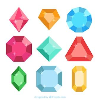 Jogo de esmeraldas e diamantes coloridos