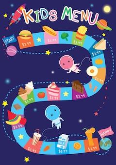 Jogo de espaço do menu para crianças