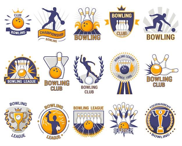 Jogo de esporte de boliche logotipo jogador com skittles de beco ou bola de boliche e greve no torneio ou liga no clube de tigela isolado no fundo branco