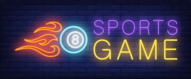 Jogo de esportes texto neon e bola com fogo