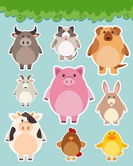 Jogo de etiqueta com animais bonitos