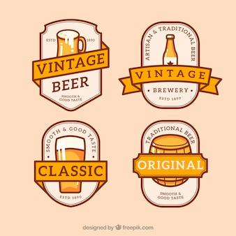Jogo de etiqueta retro da cerveja