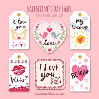 Jogo de etiquetas bonitas com linda valentine