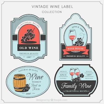 Jogo de etiquetas decorativas do vinho no estilo do vintage