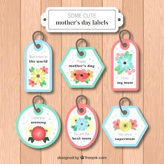 Jogo de etiquetas do dia seis da mãe com flores coloridas