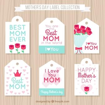 Jogo de etiquetas do dia seis da mãe com flores e corações