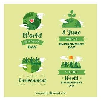Jogo de etiquetas do verde para o dia mundial do meio ambiente