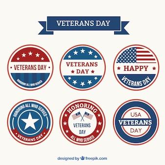Jogo de etiquetas redondas para dia de veteranos