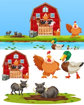 Jogo, de, fazenda, elemento