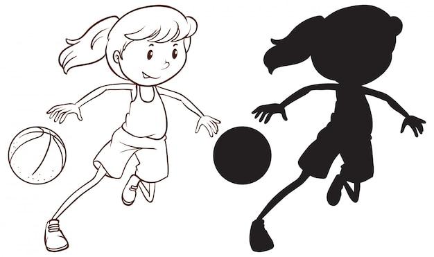Jogo, de, femininas, jogador basquetebol
