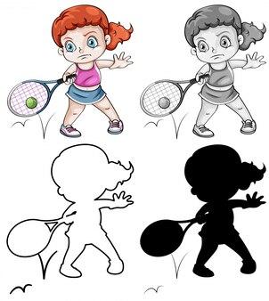 Jogo, de, femininas, jogador tênis