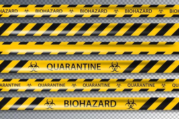 Jogo de fita preta do amarelo do perigo do risco biológico isolado. coronavírus pandêmico global covid-19
