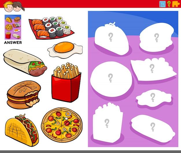 Jogo de formas combinando com objetos de comida