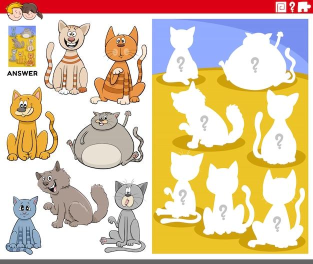 Jogo de formas correspondentes com personagens de desenhos animados gato