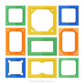 Jogo de frames coloridos, estilo plana
